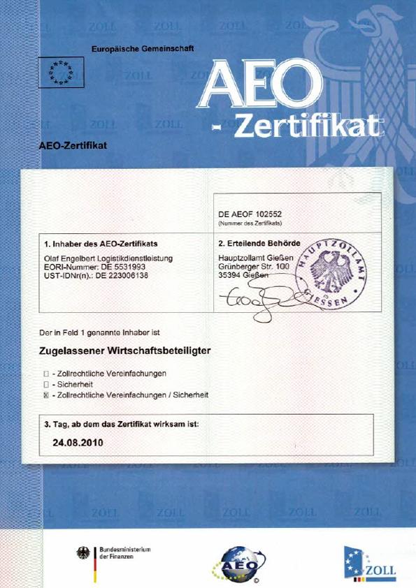AOE Zertifikat
